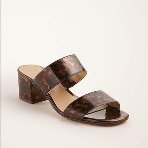 Ann Taylor Tortoiseshell Block Heel Sandals 10 new